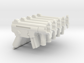 5x HK MP5K assault rifle for Playmobil figures in White Natural Versatile Plastic