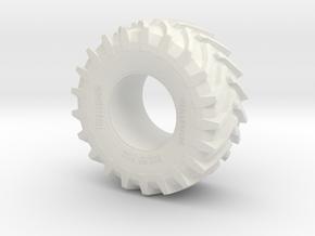 2cm Miniature Trelleborg Tractor Tire in White Natural Versatile Plastic