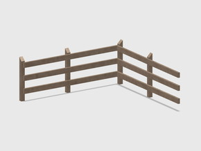 Wood Rail Fence - L/In Corner(2 ea.) in White Natural Versatile Plastic: 1:87 - HO