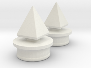 Small Pyramid Spike for Side Helmet Inserts in White Natural Versatile Plastic