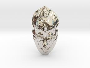 African Mask Necklace in Platinum: Medium