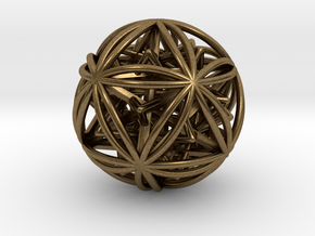 Icosasphere w/ Nested SuperStar  in Natural Bronze