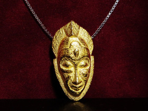 African Mask Necklace in Polished Gold Steel: Small