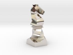 Geometric Chess Set Knight in Rhodium Plated Brass