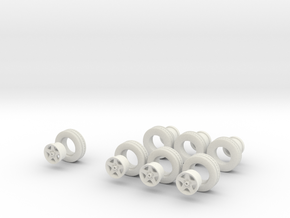 1/48 MYCO boat trailer wheels and rims in White Natural Versatile Plastic