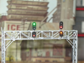 N Scale Signal Bridge Gantry 3 tracks 2pc in Smooth Fine Detail Plastic