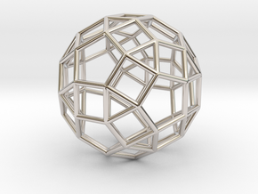 """Rhombicosidodecahedron Silver 1"""" in Rhodium Plated Brass"""