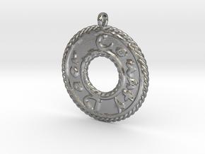 Door County Round Emboss Pendant in Natural Silver