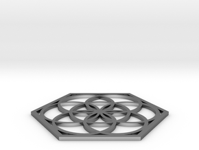 Flower of Life in a Hexagon in Fine Detail Polished Silver
