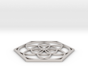 Flower of Life in a Hexagon in Rhodium Plated Brass