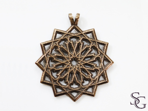 12 pointed star pendant in Polished Bronze Steel