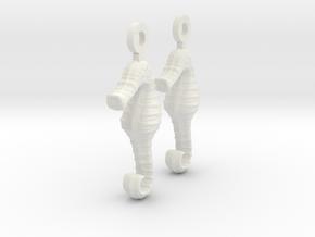 SeaHorse Earring in White Premium Versatile Plastic