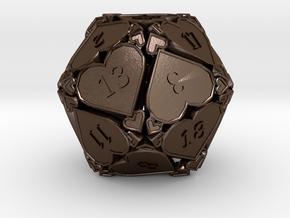 D20 Balanced [Beta] - Hearts v2 in Polished Bronze Steel