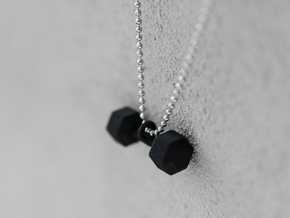 dumbbell pendant in Black Natural Versatile Plastic