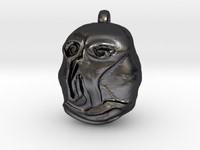 """Hello"" Carving Earring (Dark Souls) in Polished and Bronzed Black Steel: Small"
