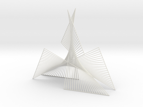 Shape Wired Parabolic Curve stitching Art V1 in White Natural Versatile Plastic