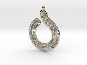 Circles & Scales Pendant #1 in Rhodium Plated Brass