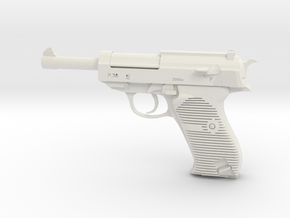 1/3 Scale Walthers P38 Pistol  in White Natural Versatile Plastic