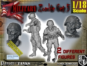 1-18 Military Zombie Set 5 in White Natural Versatile Plastic