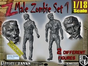 1-18 Male Zombie Set1 in White Natural Versatile Plastic