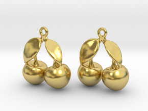 The Cherry Earrings in Polished Brass