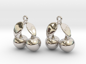 The Cherry Earrings in Rhodium Plated Brass