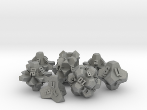 Brutalist Dice Set — Version 2 (8 pc.) in Gray Professional Plastic