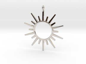Sun Rays Pendant in Rhodium Plated Brass