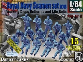 1/64 Royal Navy Seamen Set 106 in Smooth Fine Detail Plastic