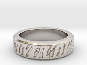 Tiger stripe ring multiple sizes in Rhodium Plated Brass: 5 / 49