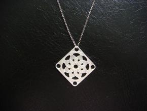 Square Pendant or Charm - Sixteen Petals in Natural Silver