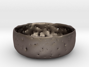 Delicate Bowl in Polished Bronzed-Silver Steel
