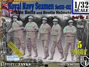 1/32 Royal Navy Seamen Set111-02 in White Natural Versatile Plastic