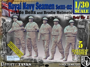 1/30 Royal Navy Seamen Set111-02 in White Natural Versatile Plastic