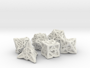 Celtic Dice Set - Solid Centre for Plastic in White Premium Versatile Plastic