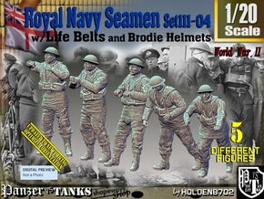 1/20 Royal Navy Seamen Set111-04 in White Natural Versatile Plastic