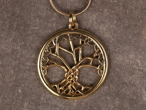 Tree Of Life Pendant in 14k Gold Plated Brass: Medium