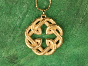 Fatherhood Knot Pendant 30mm in Matte Gold Steel