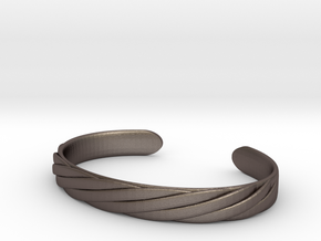 Twisted Rope Design Cuff Bracelet Large in Polished Bronzed-Silver Steel