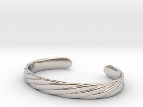 Twisted Rope Design Cuff Bracelet Large in Platinum