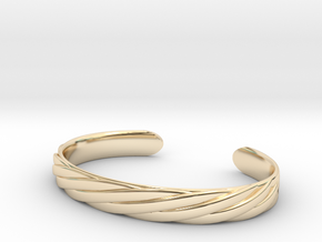 Twisted Rope Design Cuff Bracelet Large in 14k Gold Plated Brass