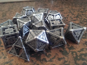 Industrial Dice Set in Polished Bronzed Silver Steel