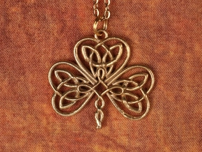 Shamrock Knot Pendant 1.25 Inch in Raw Brass