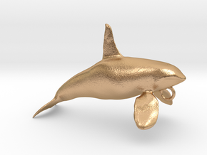 Orca Male Hollow Pendant in Natural Bronze