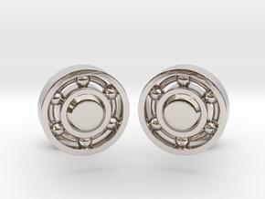 Ball Bearing Cufflinks in Rhodium Plated Brass