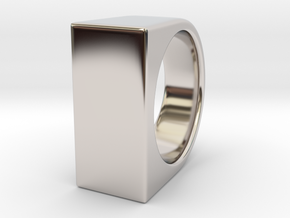 Signe Unique V - US11  - Signet Ring in Rhodium Plated Brass