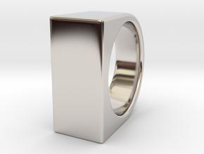 Signe Unique V - US11  - Signet Ring in Rhodium Plated Brass