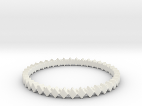 Rhombus Double Layer Band Ring in White Natural Versatile Plastic: 7 / 54