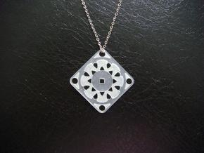 Square Pendant or Charm - Suspended Coin in Natural Silver