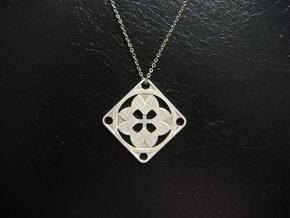 Square Pendant or Charm - Eight Petals Crossed in Natural Silver